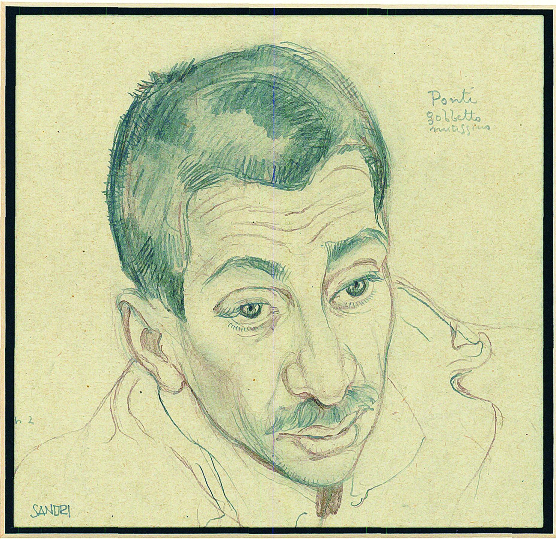 Gino Sandri_Ponti, gobbetto mitissimo, matita e pastello, cm. 15x14