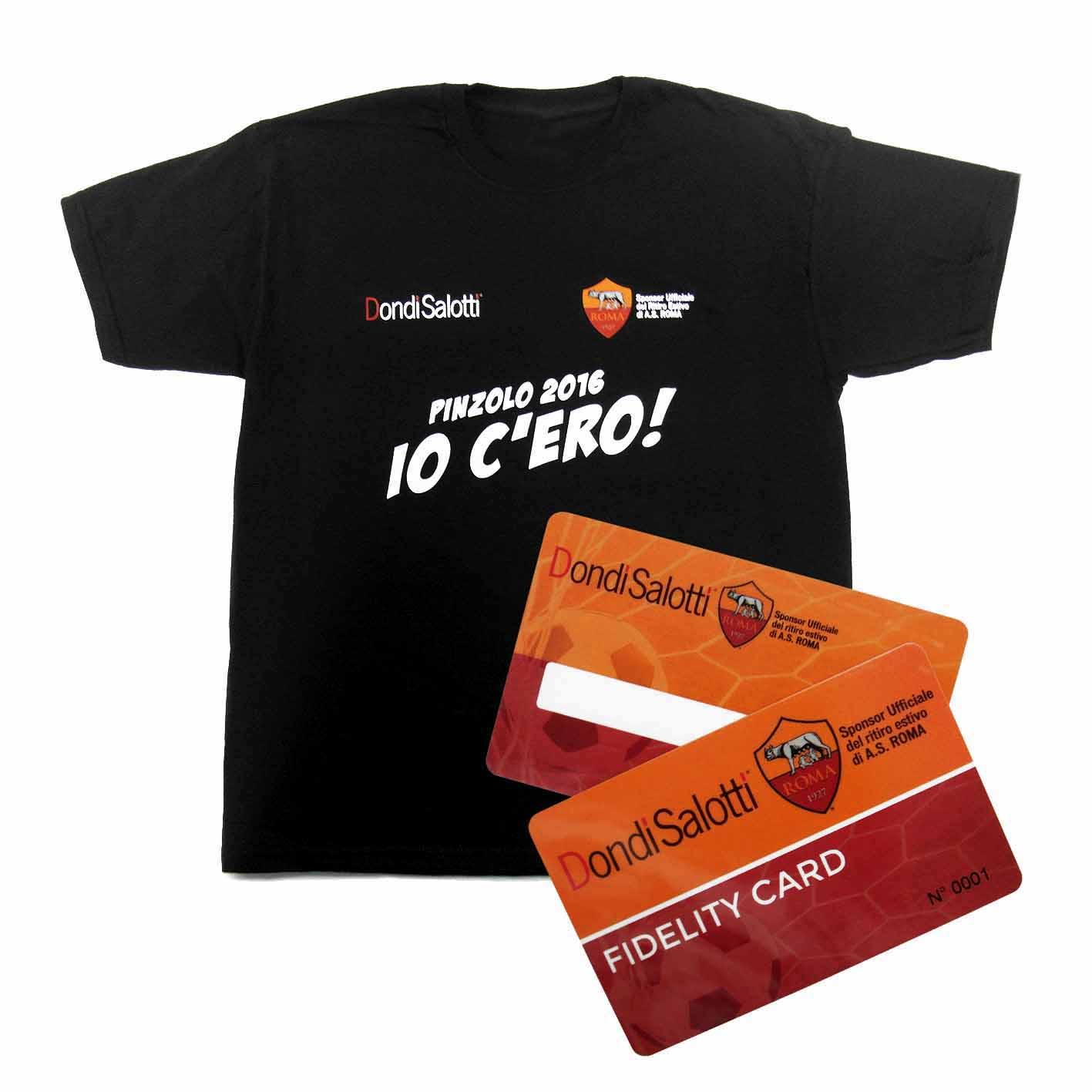 T-shirt e fidelity card realizzate per il ritiro della AS Roma