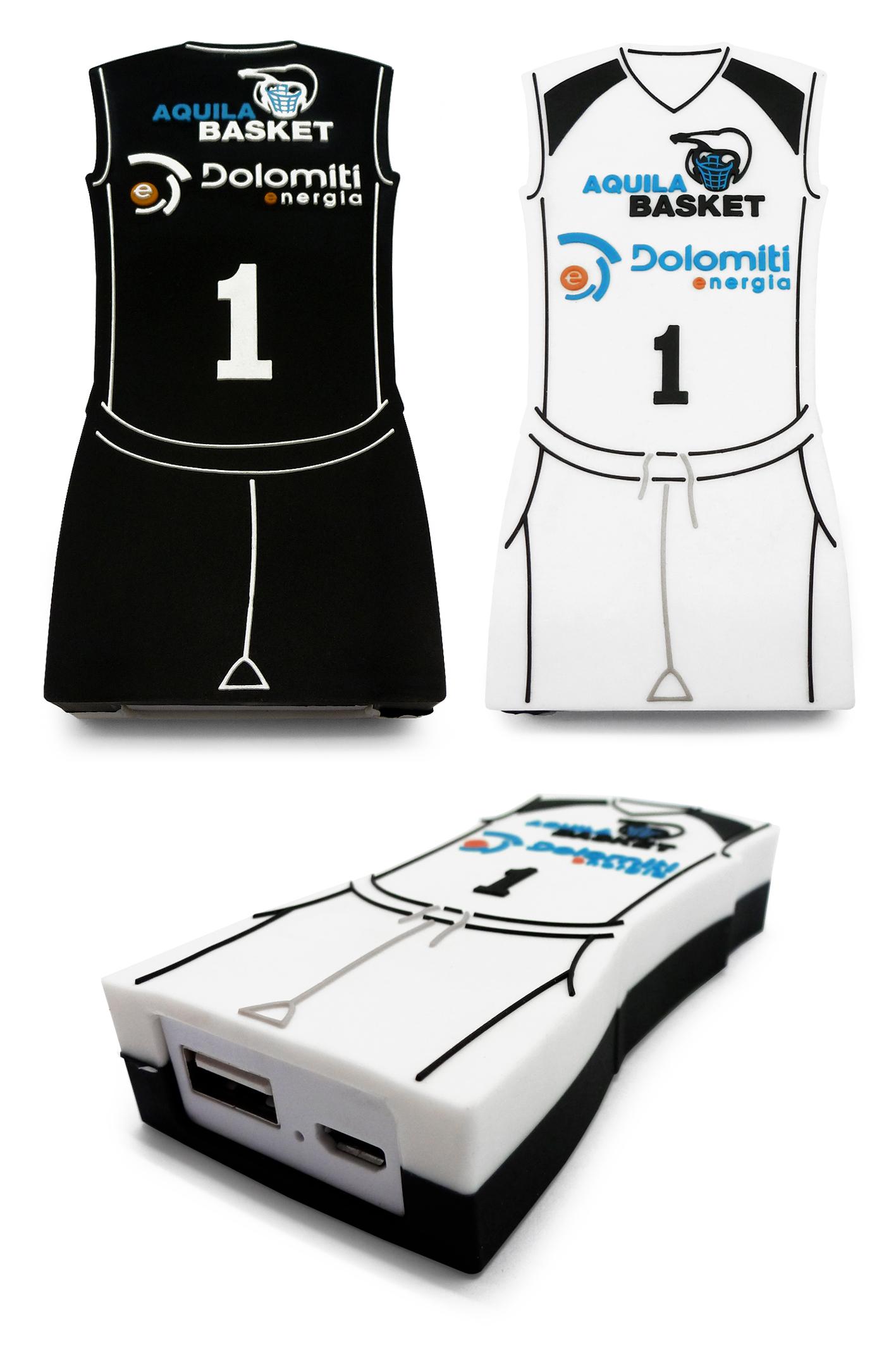 Powerbank con forma personalizzata realizzato per Aquila Basket