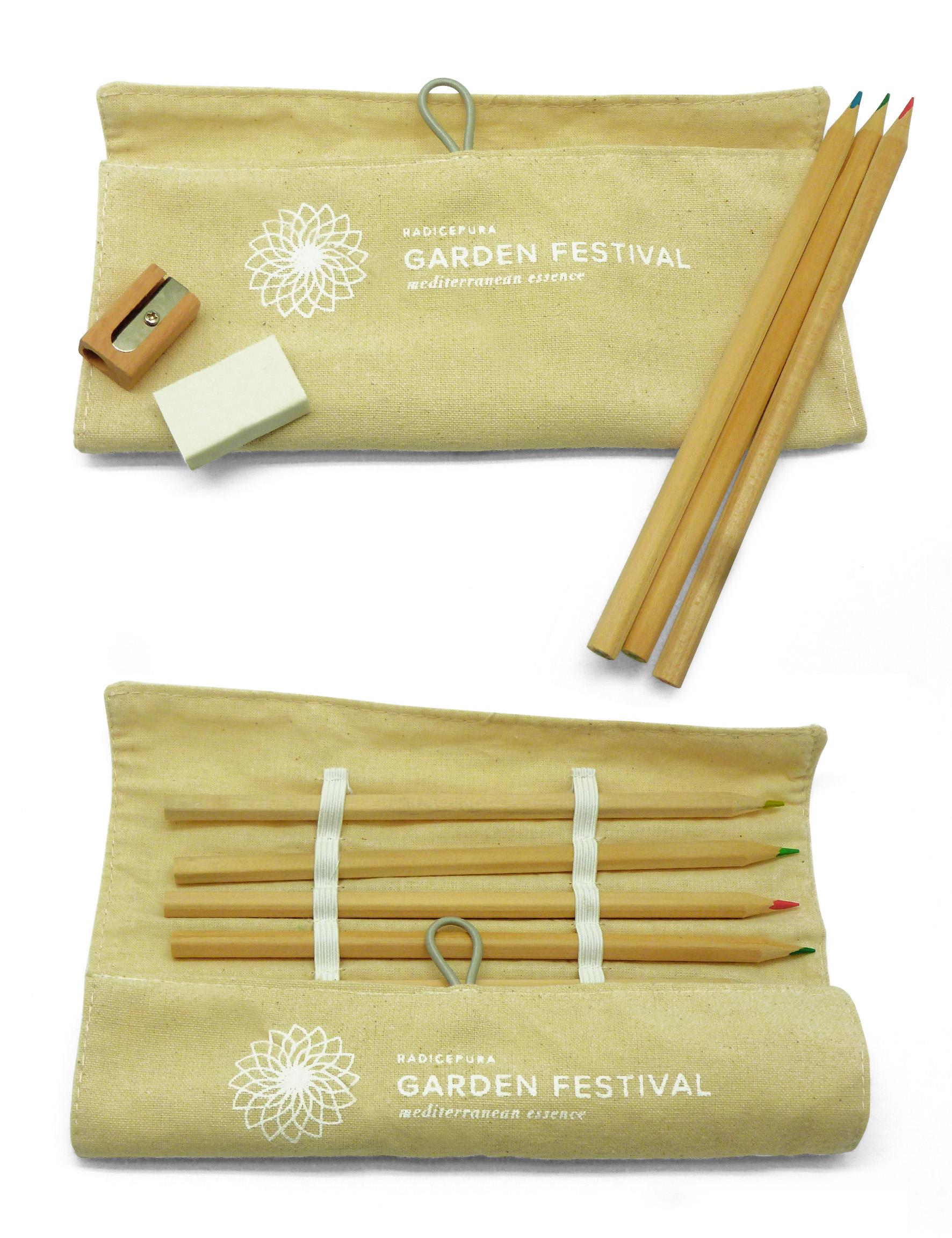 Set ecologico pastelli ed astuccio ecofriendly per RadicePura Garden festival