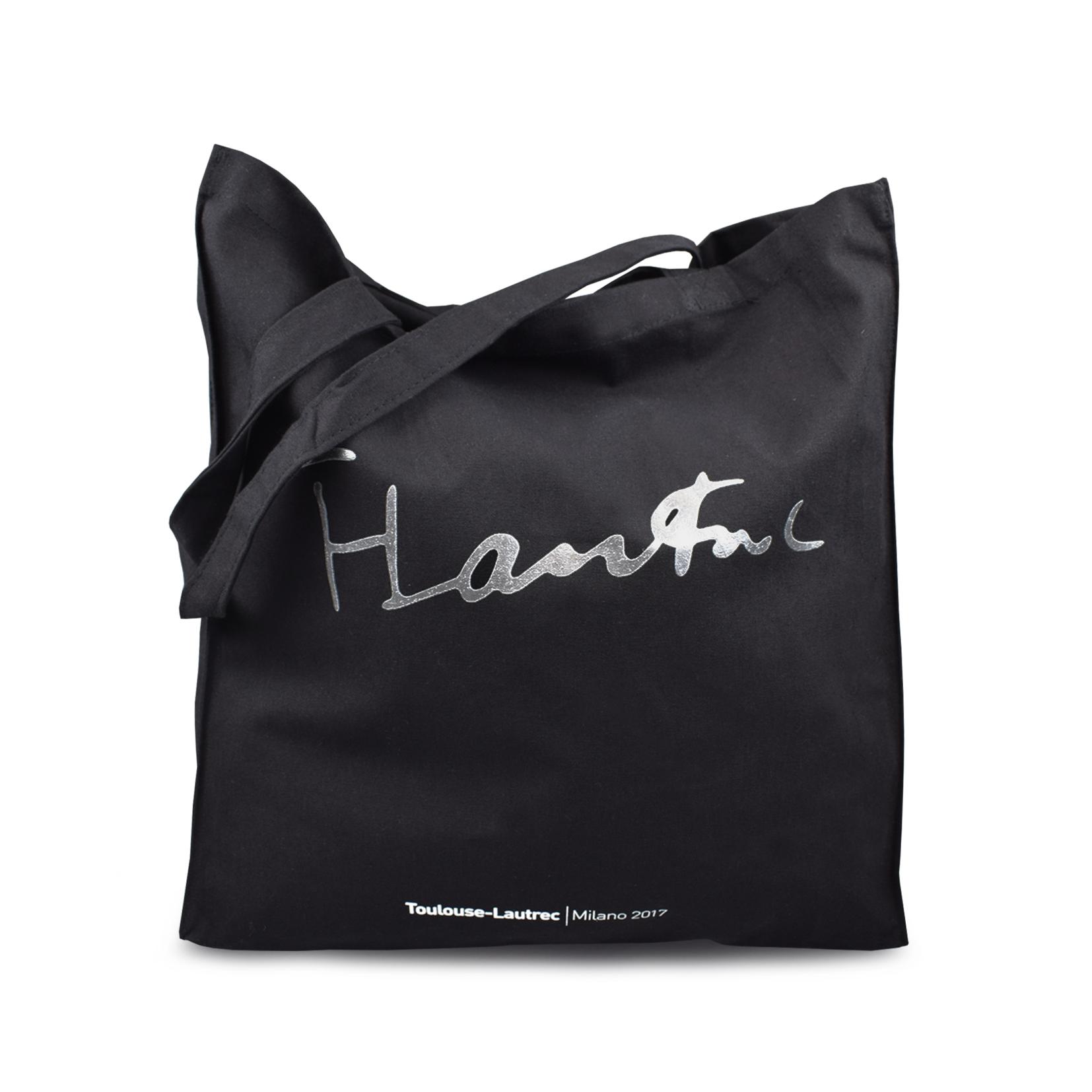 Shopping bag con stampa grigia Toulouse Lautrec