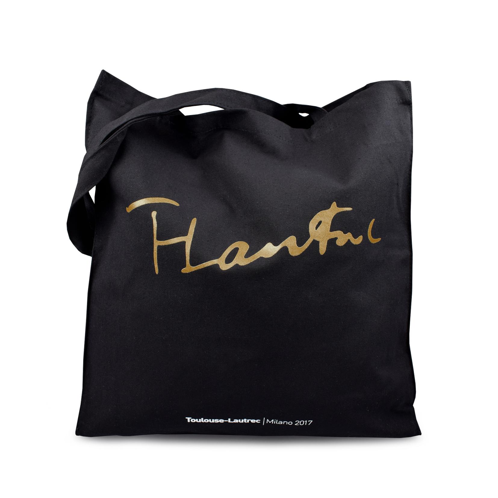 Shopping bag con stampa oro Toulouse Lautrec