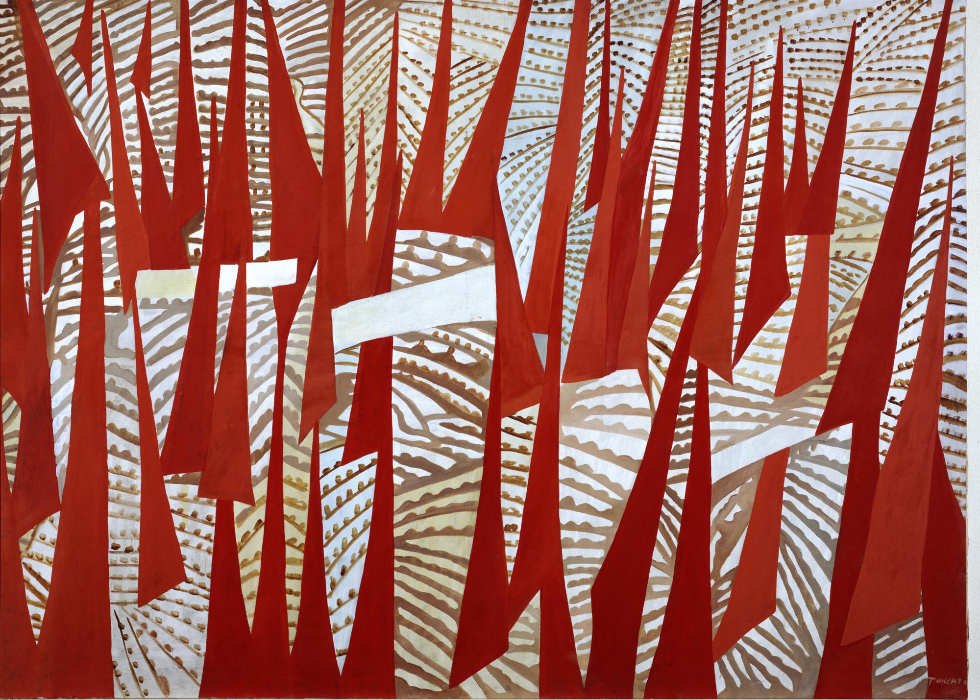 cato (Mantova 1912-Roma 1995), Comizio, 1950, olio su tela, cm 145 x 200, Roma, Galleria d'Arte Moderna © Roma Capitale – Sovrintendenza Capitolina ai Beni Culturali. Foto Schiavinotto Roma. Giulio Turcato, by SIAE 2018