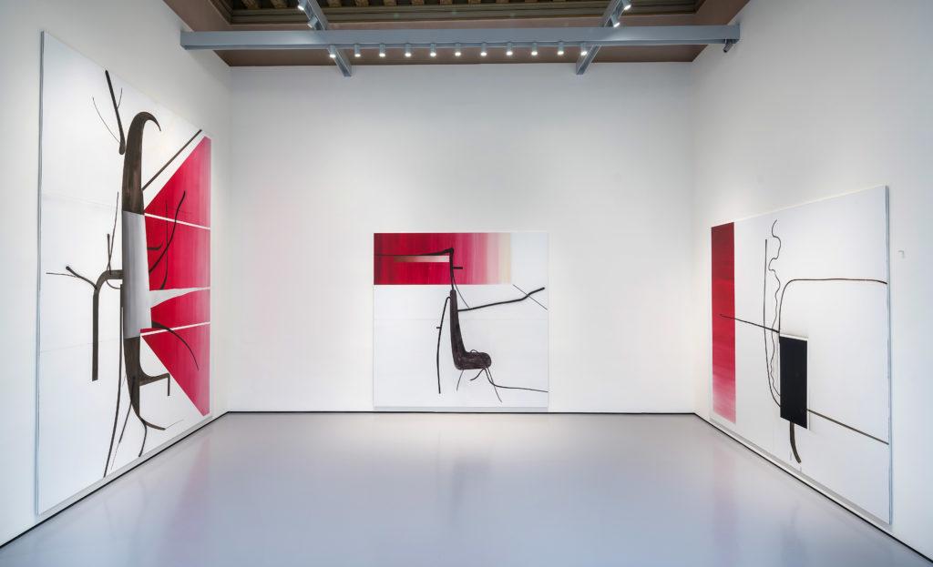 Albert Oehlen, Ohne Titel (Baum 27), 2015, Ohne Titel (Baum 9), 2014, Ohne Titel (Baum 81), 2014, Pinault Collection. Installation View at Palazzo Grassi, 2018 © Palazzo Grassi, Photography by Matteo De Fina.