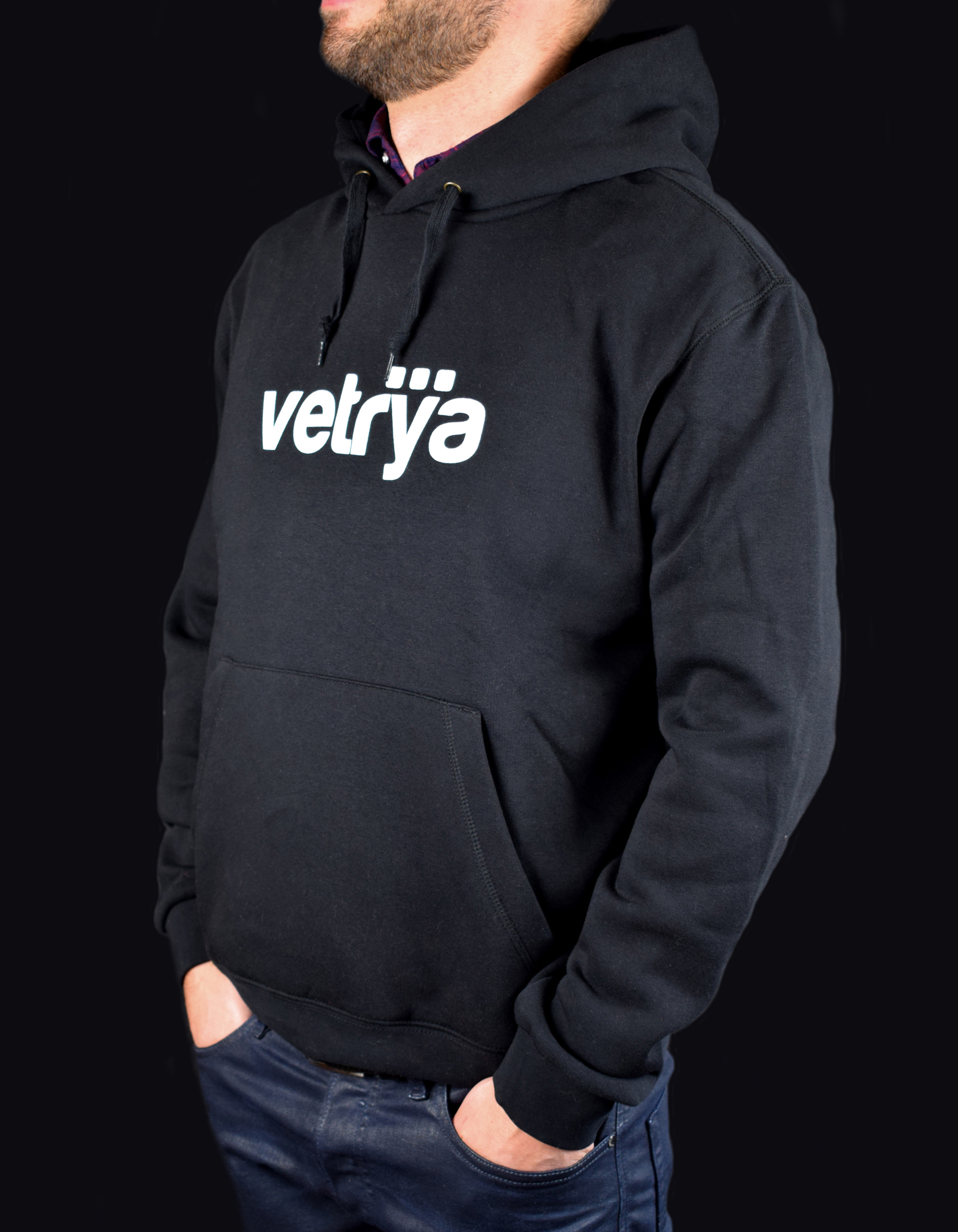 Felpa nera logo Vetrya
