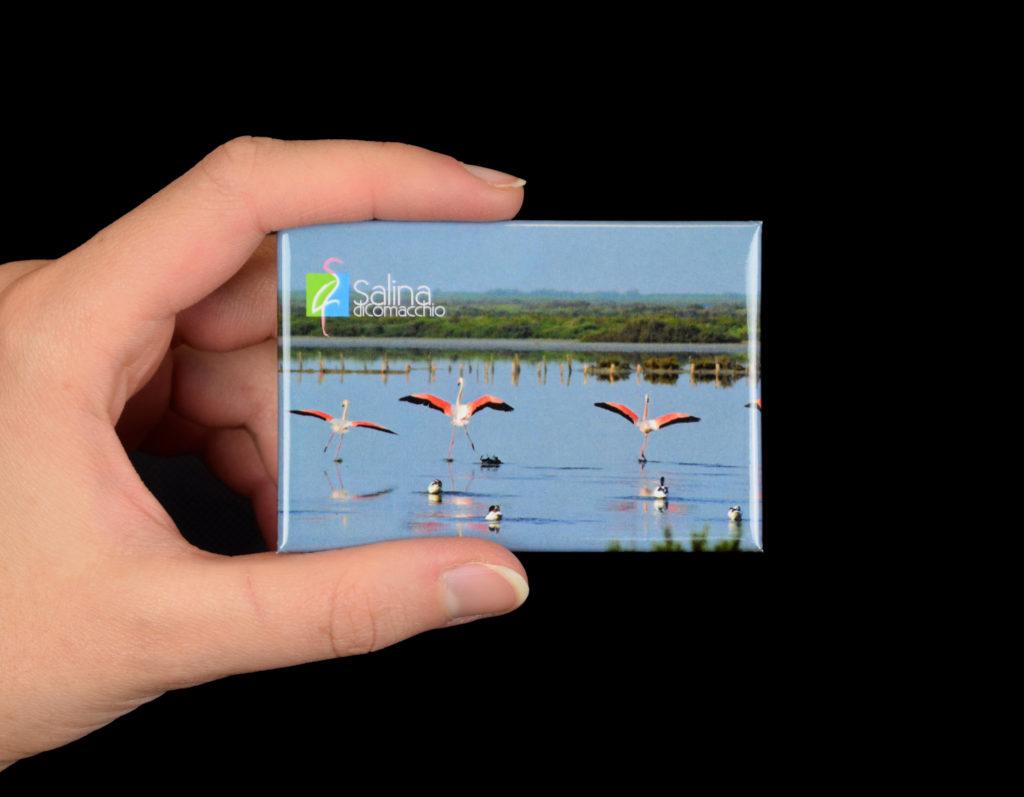 Magnete personalizzato con fenicotteri per Saline di Comacchio