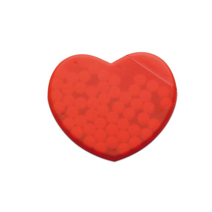 Caramelle con packaging personalizzato a forma di cuore rosso
