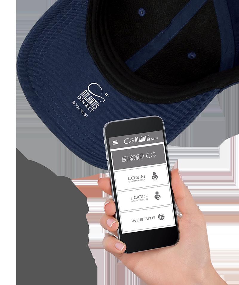 Cappellino con tag NFC nella visiera