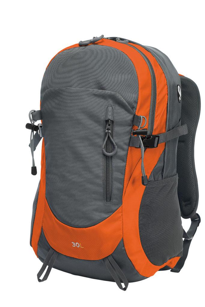 Zaino da montagna arancione e grigio fronte