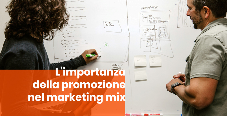 due persone studiano lo schema del marketing mix davanti a una lavagna