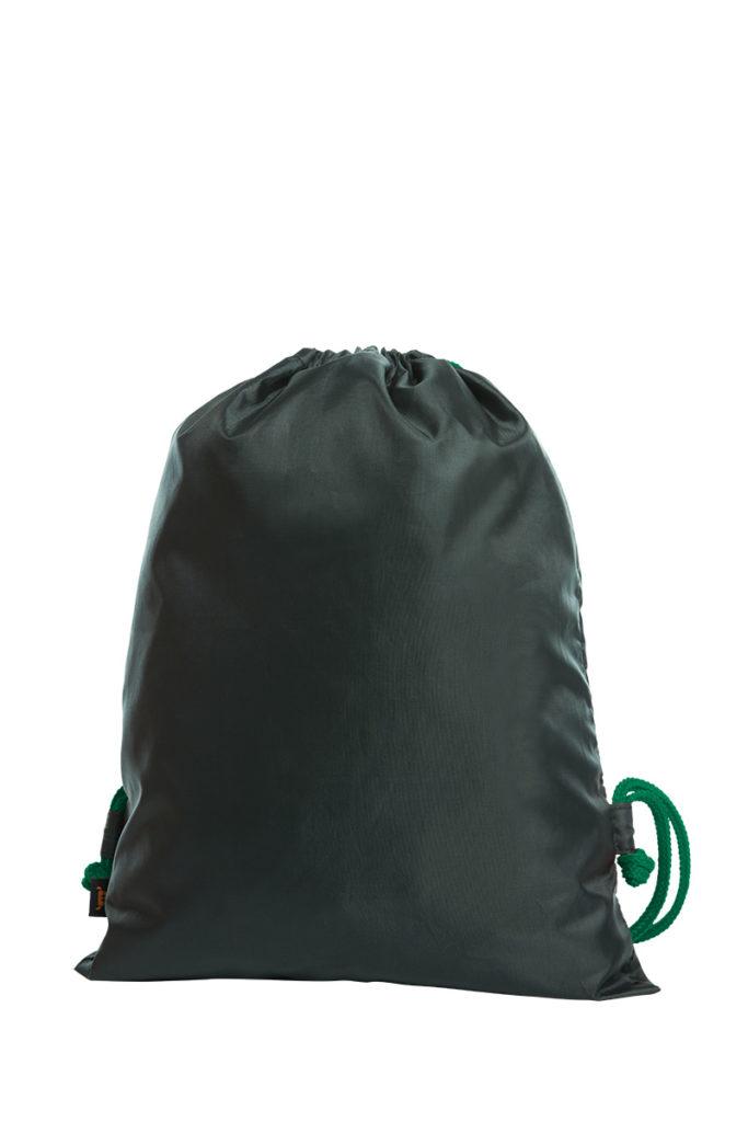 Sacca scura con cordoncino verde