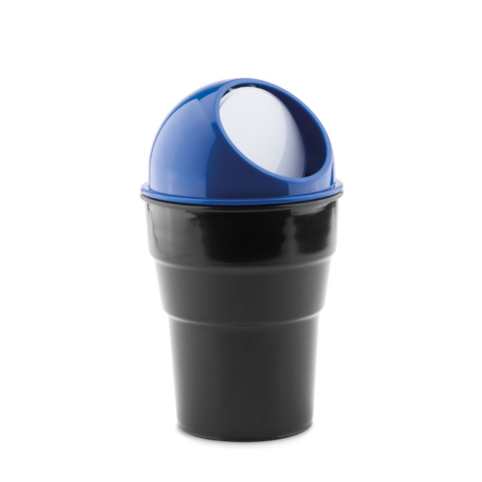 cestino porta rifiuti per auto blu su sfondo bianco
