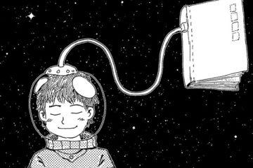 disegno di uno studente con un gadget spaziale