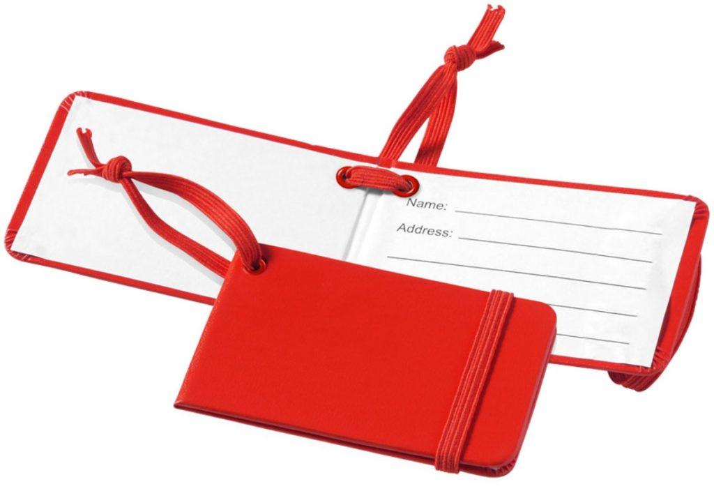 etichetta per valigia rossa con elastico
