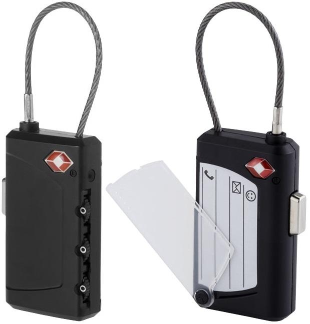 etichetta per valigia con lucchetto di sicurezza
