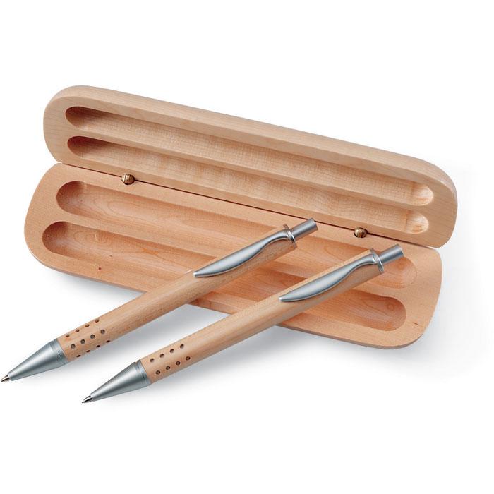 Penna e matita con custodia in legno