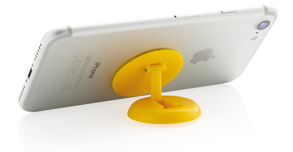 Smartphone con supporto retrattile giallo