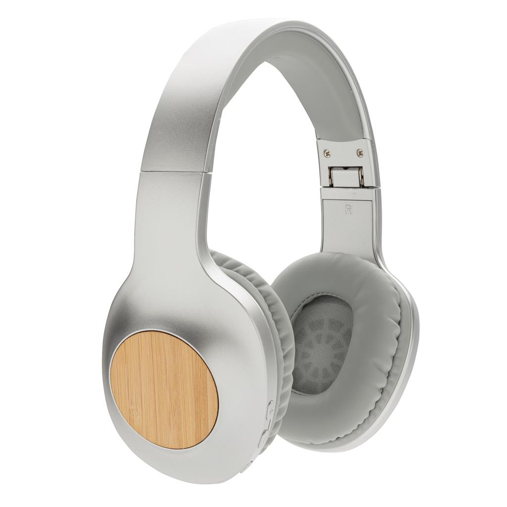 cuffie wireless con inserti in bamboo
