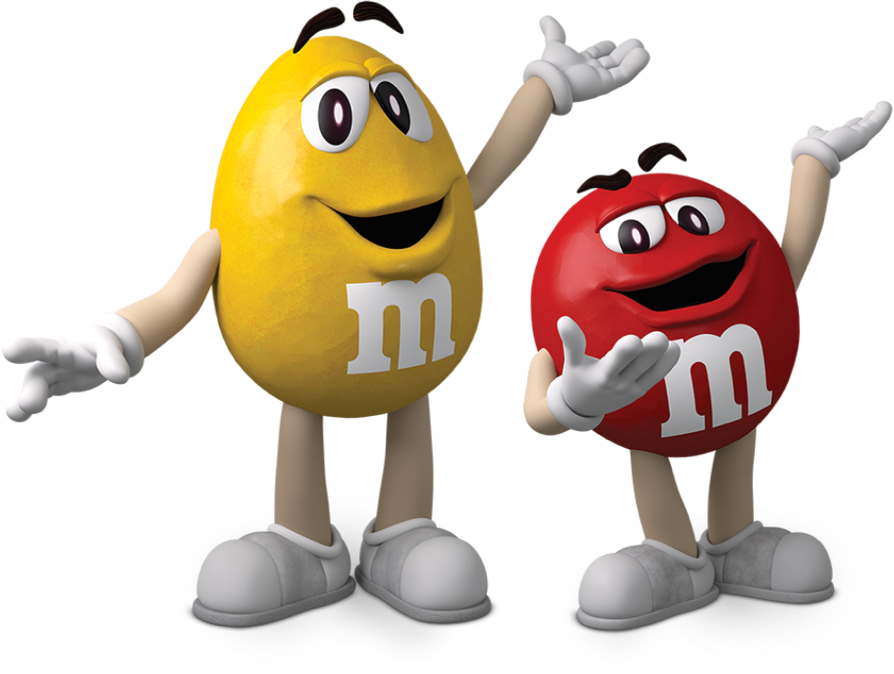 mascotte M&M's Red e Yellow