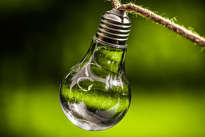 lampadina su sfondo verde simboleggia idee per il green maketing