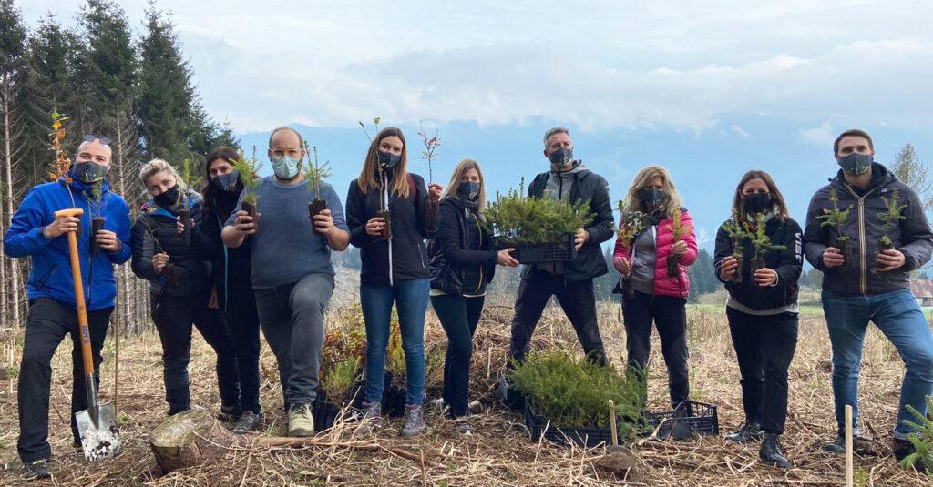 foto gruppo con alberi