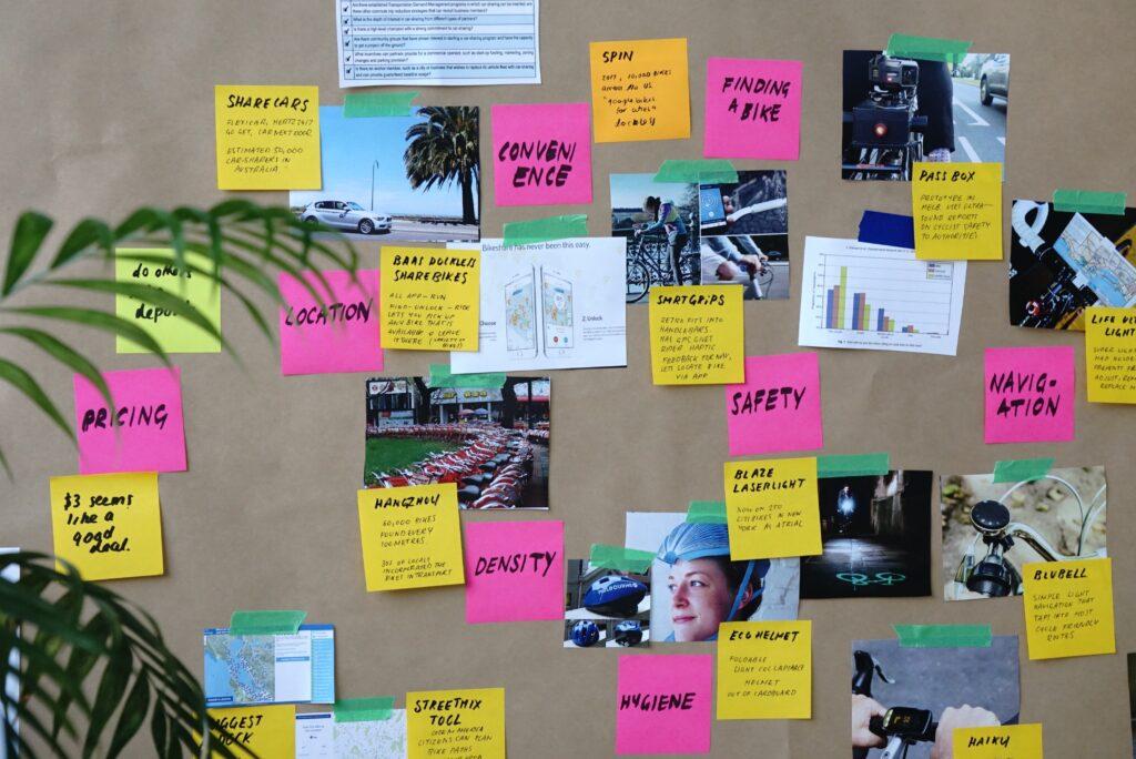 post-it di un progetto grafico creativo di importazione gadget