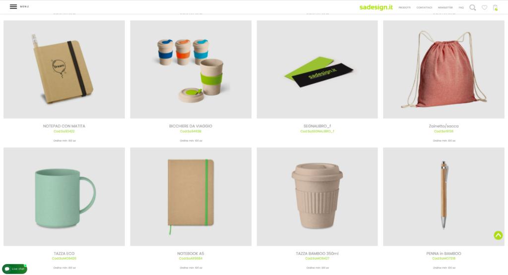 schermata sito sadesign come esempio gadget per cultura sostenibile