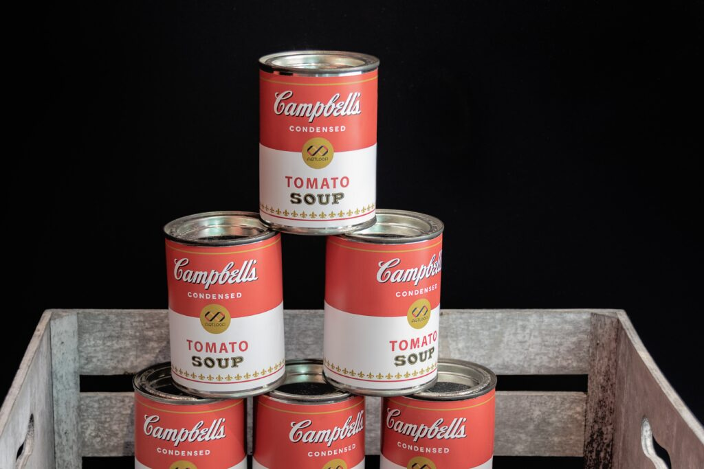 barattoli campbell come esempio di merchandising museale e arte contemporanea