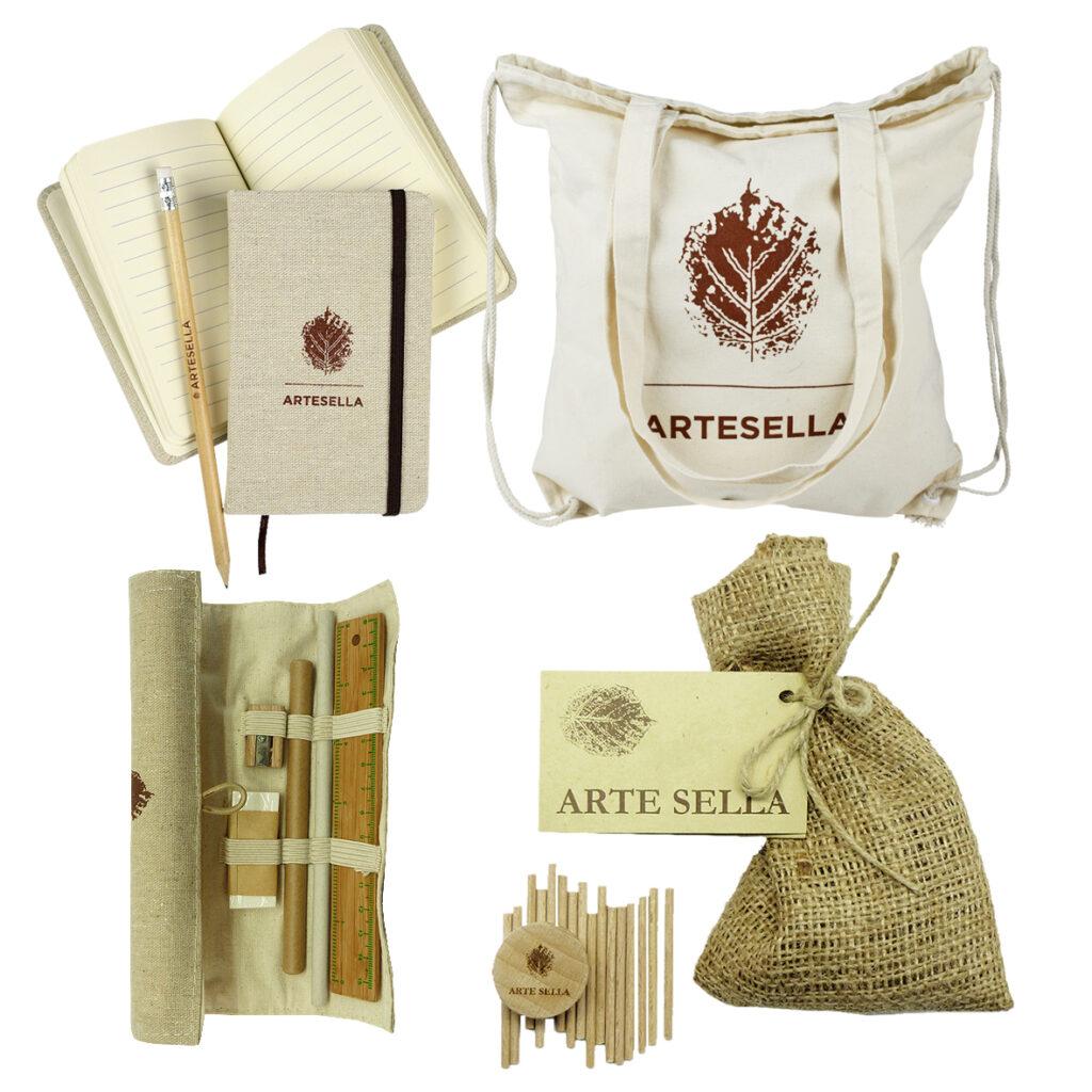 merchandising artesella: borsa, agenda, astuccio, matita