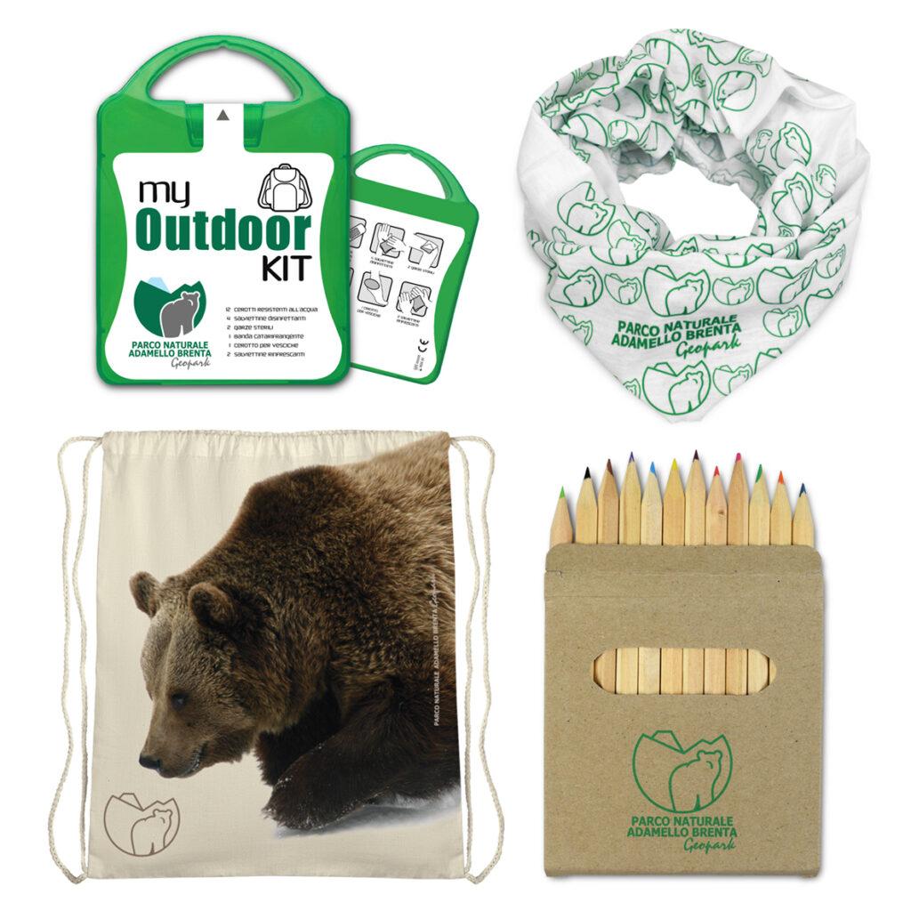 Kit cerotti, scaldacollo, shopper e matite del parco adamello Brenta