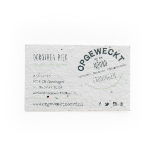 biglietto da visita in carta da piantare come esempio di regalo sostenibile