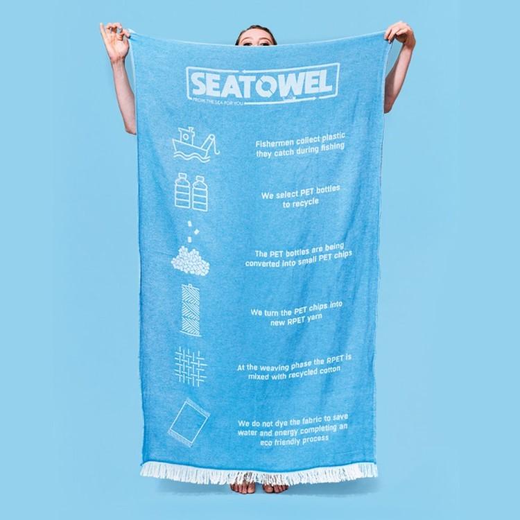 asciugamano creato dalla raccolta di plastica negli oceani come esempio di regalo sostenibile